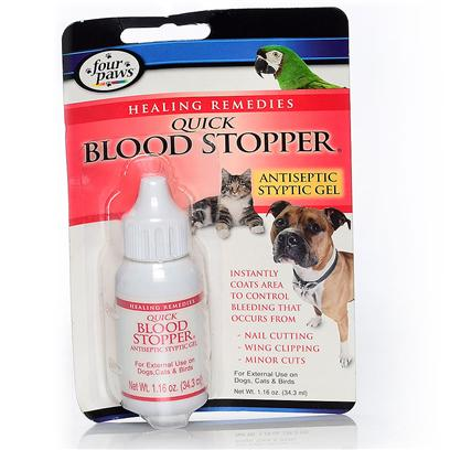Four Paws Presents Blood Stopper Gel 1.16oz. Four Paws Antiseptic Quick Blood Stopper is Designed to be Used by Both Veterinarians and Breeders in the Aid of Stopping Blood when Docking, Cropping and / or Nail Cutting. For Use on Dogs, Cats and Birds. 1 Oz [19639]