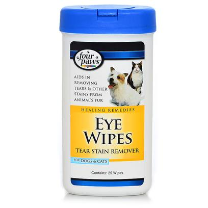 Four Paws Presents Eye Wipes for Dogs &amp; Cats 30ct. Four Paws Eye Wipes Allow Pet Owners to Safely Remove Eye Tear Stains, with Precision, with a Single Wipe. Frequent Use will Prevent Unsightly Staining. Alcohol Free, so as not to Irritate your Pet. 30ct [19651]