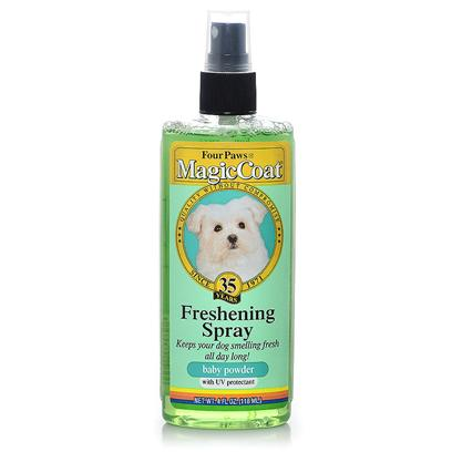 Four Paws Presents Freshening Spray-4oz Baby Powder. Four Paws Magic Coat Freshening Sprays were Formulated to Keep Pets Smelling Clean and Fresh. Freshening Sprays are Great for Use in Between Bathing and Groomer Visits or for a &quot;Quick Sprits&quot; just as Company Arrives Unexpectedly. Four Paws Freshening Sprays can and should be Used Daily on Dogs that Spend Extended Hours Outdoors-During all Seasons- as the Sprays have been Enhanced with Uv Oils to Protect and Diffuse the Harmful Rays of the Sun. Four Paws Offers Three Fragrances of the Magic Coat Freshening Sprays-Baby Powder (Shampoo Equivalent is Four Paws Magic Coat Puppy Shampoo), Merlot Berry (Shampoo Equivalent is Four Paws Magic Coat Merlot Shampoo), and Fresh Essence (Shampoo Equivalent is Four Paws Magic Coat Fresh Essence Shampoo and/or Fresh Essence Conditioner). 4 Oz. [19654]