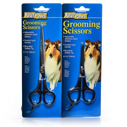 Four Paws Presents Four Paws Grooming Scissors 7.5'. Four Paws Grooming Scissors are Useful for Grooming all Types of Coats. They Include Adjustable Stainless Steel Blades, a Comfort Grip Handle and a Rounded Safety Tip for Ease and Convenience. 7 1/2&quot; [19718]