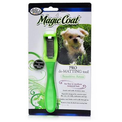 Four Paws Presents Magic Coat Dematting Hair Sensitive-Medium/Course. Especially Designed for Sensitive, More Defined Areas Like Ears, Tail, Belly, Underarms and Legs. Magic Coat Sensitive Areas Pro de-Matting Tool Gently and Easily Detangles Matted Hair and Removes Loose, Dead Mat-Causing Hair. The Smaller Sized Tool Makes it Easier to de-Mat Sensitive Pet Areas. Stainless Steel Blades, Customized for Pet Hair Texture, Comb Easily through Fur. Rubberized Handle Provides a Firm Comfortable Grip. For Medium to Coarse Textured Hair [19723]