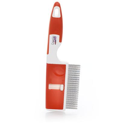 Millers Forge Presents Mf 2-in-1 Adjustable Comb. Switches from a Fine-Tooth to a Coarse-Tooth Comb with One Touch! Push the Switch Down to Lock the Fine Teeth in Place. Slide the Switch Back to Hide Them. Position the Switch in the Middle for Shedding Teeth. Stainless Steel Teeth with a Plastic Handle. [19740]