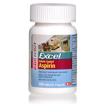 8 in 1 Presents Excel Asprin for Dogs 120 Tab. Excel Enteric Coated Aspirin is a Temporary Pain Reliever that Helps Alleviate Inflammation and Stiffness in Dogs. This Product is Ideal for Arthritis and Related Joint Problems, and Helps to Reduce Joint Stiffness. These Tablets are Specifically Formulated for Dogs and Cannot be Used on Other Pets. The Coating Protects your Dog'S Stomach, but is Still Fast-Acting for Pain Relief. [19796]