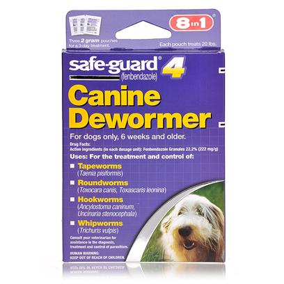 8 in 1 Presents Safeguard for Dogs Large (40lbs) - 3 Pack (4g Pouches). 8 in 1 Safeguard for Dogs is a Non-Prescription, Fda-Approved, 3-Day Dewormer that Treats Tapeworm, Roundworm, Hookworm, and Whipworm in Dogs. 8 in 1 Safeguard for Dogs Formula can be Mixed with Food for Easy Ingestion. [19799]