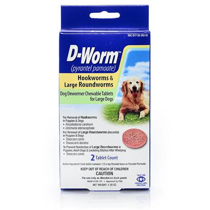 Farnam Presents D-Worm Small (Puppy) - 2 Tabs. Tired of the Battle Between you, your Dog, and the Deworming Pill you have to Feed Them? D-Word has you Covered. D-Worm is a Flavored, Chewable Treat for your Dog, that is also a Dose of Roundworms, Hookworms and Tapeworms Treatment. [19801]