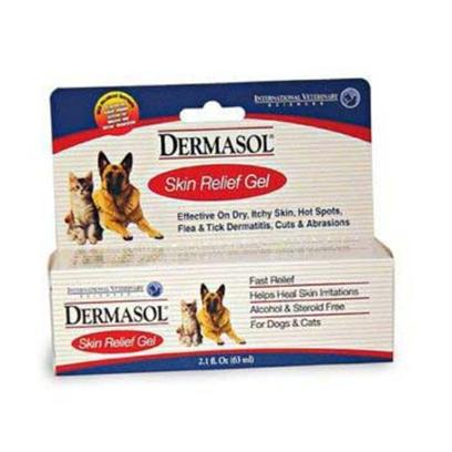 International Veterinary Presents Dermasol Ex Strength Gel 2.1oz. Dermasol Skin Care, Extra Strength Gel Relieves Hot Spots, Insect Bites and Other Skin Irritations. Dermasol Helps Eliminate the Effects of Continued Scratching, Rubbing and Licking that Often Worsens Skin Problems. Dermasol Contains Vitamins a &amp; E that are Micellized Using a Unique Patented Process that Enables Fat-Soluble Nutrients to Absorb Rapidly through the Cell Membranes Increasing the Overall Effectiveness of the Product. Micellization Increases Ingredient Absorption as Much as Five Time Verses an Un-Micellized Product. Increased Absorption Leads to Increased Effectiveness. Dermasol is Alcohol and Steroid Free and Comes in a Liquid Spray or an Extra Strength Gel. Dermasol is from the Makers of Lipiderm. Dermasol Extra Strength Gel, 2.1 Oz. [19808]