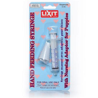Lixit Presents Feeding Syringe with Nursing Adapter. 5 Ml Syringe with Soft Nursing Attachment. Ideal for Puppies and Other Baby Animals. [19810]