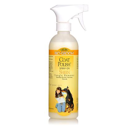 Bio Groom Presents Coat Polisher Conditioner/Detangler 16oz. This Special Formula was Developed to Provide the Coat with a Rich, Healthy Show Ring Sheen. It will Highlight all Colors and Keep Dogs and Cats Groomed Longer. It is Uniquely Designed to Repel Dust and Dirt, and Prevents Stains. Untangles Matted Hair and Keeps it Tangle-Free, Lustrous, and Easy to Groom. Non-Oily, Non-Sticky, and Safe. [19899]