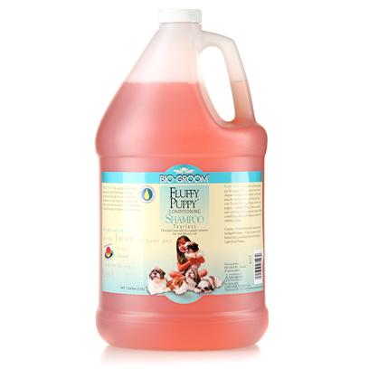 Bio Groom Presents Fluffy Puppy Tearless Shampoo 1gallon. Developed Especially for a Puppys Sensitive Skin and Delicate Coat, this Pure and Natural Conditioning Shampoo Cleanses Thoroughly and Effortlessly without Stripping the Natural Protective Oils from Skin and Coat.It Rinses out Quickly and Completely for Those Impatient Puppies. Help Control Body Odors, is Ph Balanced and Leaves no Irritating Residue. 1 Gal [19903]