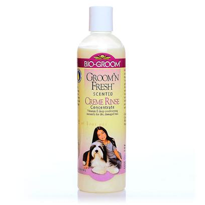 Bio Groom Presents Groom and Fresh Cream Rinse Conditioner 12oz. Will Eliminate Pet Odor and Leave a Long Lasting Fragance. Contains Wheat Germs Oil, Vitamin E and Other Special Cosmetic Grade Coat and Skin Conditioners. Moisturizes the Skin to Help Prevent and Relieve Dryness. Non-Irritating, Biodegradable, Anti-Static, Ph Balanced to Pets Skin and Coat. Designed for all Colors and Coat Types. [19906]