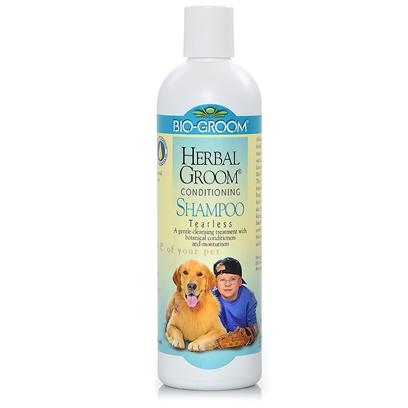 Bio Groom Presents Herbal Groom Tearless Shampoo 12oz. This all Natural Tearless Conditioning Shampoo Treatment is Fortified with a Selected, Harmonious Blend of Pure Botanical Extracts Such as Aloe Vera, Chamomile, Rosemary, Lemongrass, Hops, Yarrow, Matricaria, and Balm Mint to Revitalize Coat and Skin.Enriched with Protein and Lanolin to Restore Natural Radiance and Give Body to the Coat while Moisturizing Dry Skin. Concentrated, Ph Balanced with a Rice and Fragrant Lather. Safe for Puppies and Kittens. 12 Oz [19909]