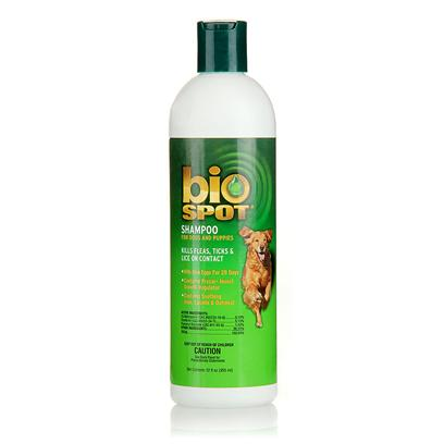 Farnam Presents Bio Spot Shampoo for Dogs and Puppies 12oz. Bio Spot Shampoo for Dogs &amp; Puppies is Designed to Cleanse and Eliminate Fleas, Ticks and Lice on Contact. It also Contains Igr to Prevent Reinfestation for 28 Days. Kills Fleas, Ticks &amp; Lice on Contact. Kills Flea Eggs for 28 Days. Contains Precor Insect Growth Regulator. Contains Soothing Aloe, Lanolin &amp; Oatmeal. Does not Remove Topical Flea Control Products. Gentle, Water-Based Formula Lathers Up Quickly, Rinses out Easily. Ph-Balanced  Won't Irritate Skin. Conditions Coats and Leaves a Fresh, Clean Scent. [19911]