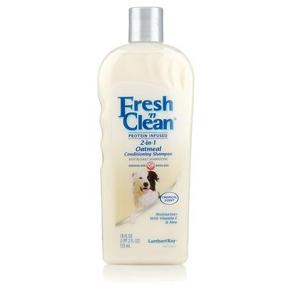 Lambert Kay Presents Fresh 'N Clean 2-in-1 Oatmeal Conditioning Shampoo 18oz. One-Step Cleaning and Conditioning Keep your Dog Looking and Smelling their Best with this Tropical-Scented Shampoo that Cleans and Conditions in One Easy Step. The Nourishing Protein Infused Formula Helps Maintain a Healthy Coat Free of Mats and Tangles while Vitamin E and Aloe Go Deep to Moisturize your Dog's Skin. The Clean, Tropical Scent is Enhanced by Arm &amp; Hammer Deodorizers for Long-Lasting Freshness. This Naturally Derived Shampoo is Suitable for all Hair Types, and the Gentle Formula Makes it a Smart Choice for Dogs with Sensitive Skin. [19924]