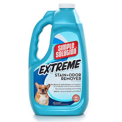 Bramton Company Presents Extreme Stain/Odor Remover 64oz. With 3 Times the Power of Simple Solution Stain and Odor Remover, this Fast-Acting Formula Permanently and Completly Removes Even the Toughest Pet Stains &amp; Odors. Professional Strength Bacteria and Enzyme Formula Works on Both New and Old Problem Areas - Including Carpet Pad Odors. [19940]