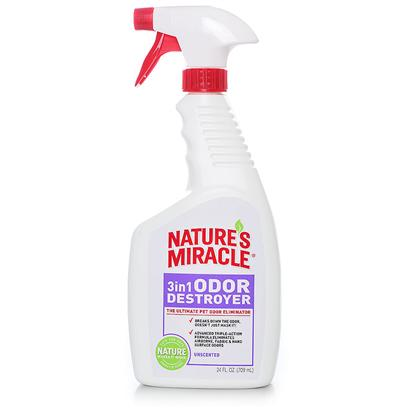 Nature's Miracle Presents 3in1 Odor Destroyer Oz Unscented-24oz Spray Bottle. Nature's Miracle 3 in 1 Odor Destroyer Instantly Breaks Down and Eliminates the Odor. The Advanced Triple-Action Formula Destroys Airborne, Fabric and Hard Surface Area Odors. Spray in the Air or on Surfaces Such as Litter Boxes, Pet Beds, Cages, Sofas, Carpets, Cars or Anywhere your Pet Goes. Safe for Use Around Children and Pets. 24 Oz [19964]