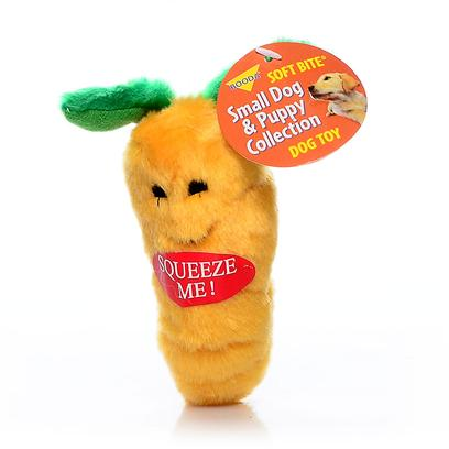Petmate Presents Aspen Carrot Small Soft Bite. These Pint-Sized Plush Toys are Perfect for your Small Dog or Puppy. Covered in a Soft Fabric, they Come in Fun Shapes that your Dog will Love! Case Pk 60 [20017]