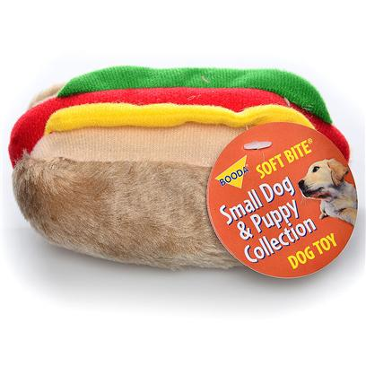 Petmate Presents Aspen Hot Dog Small Soft Bite. These Pint-Sized Plush Toys are Perfect for your Small Dog or Puppy. Covered in a Soft Fabric, they Come in Fun Shapes that your Dog will Love! Case Pk 60 [20019]
