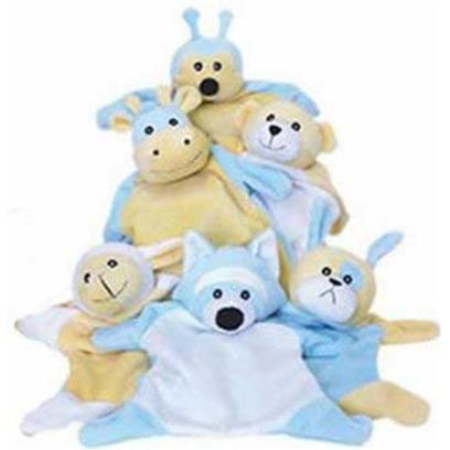 Our Pets Company Presents Fluffles Blankie Dog Toys-6pc Assorted. A Best Friend for your Best Friend! Your Dogs will Love to Tug, Snuggle and Fetch the Entire Fluffles Blankie Family. Fluffles Blankies are Unstuffed, and they Squeak! Family Includes Dog, Bee, Bear, Hippo, Sheep and Raccoon. [20066]