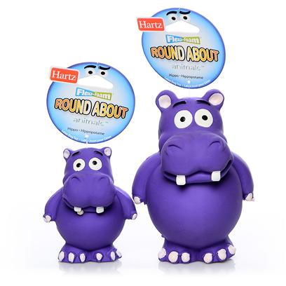 Hartz Presents Flexa Foam Roundabout Animals Toy Hippo Small. Designed with a Sturdy Latex Exterior and a Foam Polyurethane Filled Interior. Includes a Squeaker for Added Entertainment. Provides Long-Lasting Flexible Fun. Small [20136]