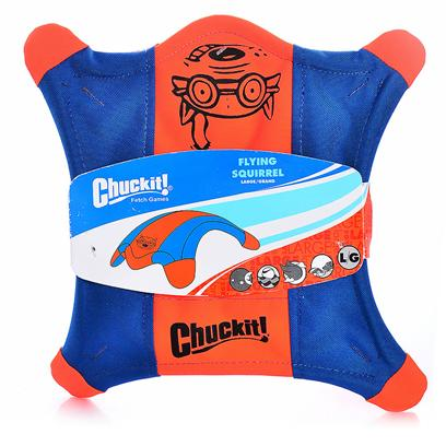Canine Hardware Presents Chuckit Flying Squirrel Medium. Flying Dog Toy Features Raised Sides for Easy Pick Up, Floats in Water and has Glow in the Dark Paws. Small; Blue/Green or Blue Orange [20179]