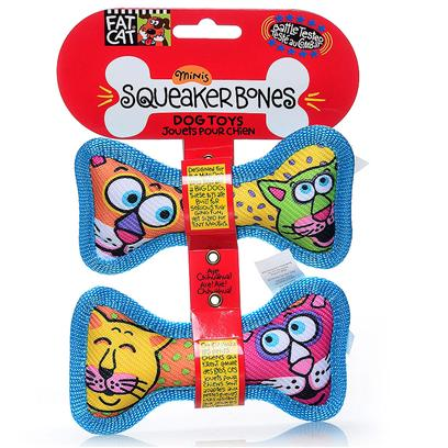 Petmate Presents Mini Squeaker Bones Toys 2 Pack. Finally! A Toy that doesn't Underestimate your Mini Dog's Tugging Power! At Fat Cat, we Know that Tough Dogs can Come in Small Packages! Designed for the Mini Dog who Tugs Like a Big Dog, Squeaker Bone Mini Dog Toys are Built for Serious Tugging Fun, yet Sized for Tiny Mouths. Aye Chihuahua! [20189]
