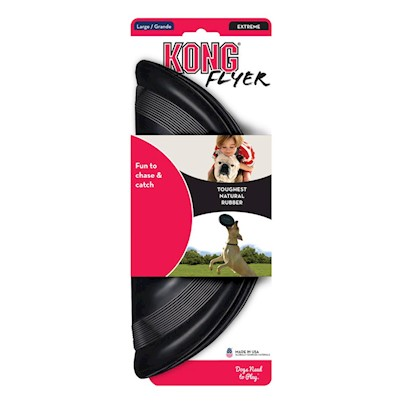 Kong Company Presents Kong Extreme Flyer Large. The Kong Extreme Flyer is Made out of our Ultra-Durable Extreme Rubber to Stand Up to the Rigorous Demands of Even the Most Enthusiastic Dogs. Flexible Enough to be Folded for Easy Portability, but Rigid Enough to Fly, the Extreme Flyer is Perfect for Active Dogs. [20194]