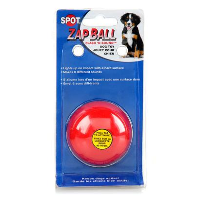 Ethical Presents Zap Ball Flash 'N Sound Dog Toy 2.5'. Dogs Like a Ball with Attitude. The Zap Ball Flash N Sound is a Unique Take on an Interactive Fetch Toy. This Ball Keeps your DogS Attention by Appealing to their Senses. It Makes a Series of Noises and Illuminates on Impact. It Flashes, Making it Easier to Spot than a Normal Ball. This Toy Makes a Total of 8 Different Sounds, Ranging from Chirps and Whistles to Rings. Fetching Toys are a Great Way to Keep your Dog Active, and Having to Retrieve a Ball Stimulates their Mind, Requiring them to Practice their Motor Skills. [20212]