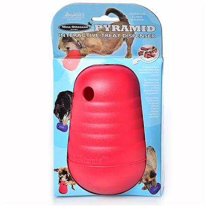 The Company of Animals Presents Dog Pyramid Treat-Dispensing Toy Pyramid-Treat Dispensing. The Dog Pyramid is Perfect for Occupying and Stimulating your Pet. Each Time the Dog Moves or Knocks the Pyramid Greatly it is Rewarded by the Release of Food. Simply Place the Treats or Dry Kibble into the Toy and Watch as the Dog Enjoys the Challenge! The Pyramid is Weighted at the Bottom to Make it Always Self-Right to a Vertical Position, no Matter how Enthusiastic the Game. Ultra-Tough and Durable. Will Stand Up to Even the Most Aggressive Play. [20223]