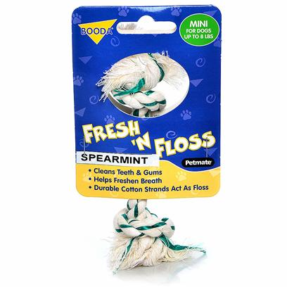 Petmate Presents Booda Fresh Floss 2 Knot Spearmint X-Small. With this Revolutionary Toy you can Finally Get your Dog to Floss! These Fresh-Tasting, One-of-a-Kind Rope Bones Contain Actual Dental Floss Twisted in with all-Natural Cotton Fibers. In Addition, the Booda Fresh 'N' Floss Contains Baking Soda to Fight Plaque and Control Tartar. All this and these Rope Bones are Non-Invasive and Non-Irritating to Sensitive Mouths and Gums. Fresh 'N' Floss [20233]