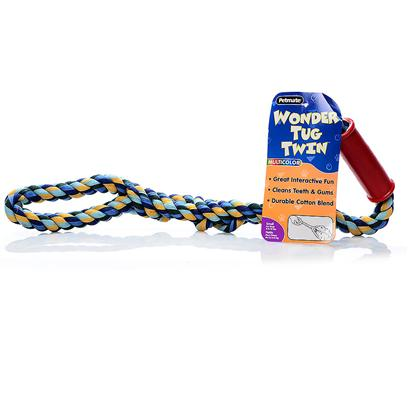 Petmate Presents Multicolor Wonder Tug-Solo Color-Medium. Twin Tug Allows Two Dogs to Play at Once Rugged Double-Ply Construction and Rubber Grip Machine Washable Cotton Blend [20240]