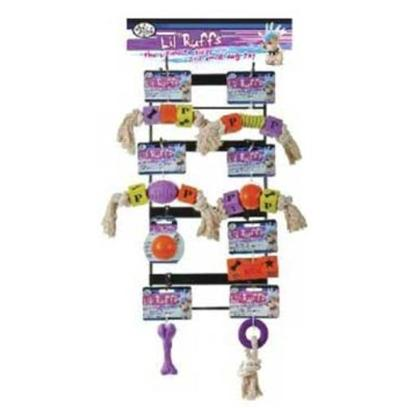 Four Paws Presents Lil' Ruffs Rubber-33piece Fp Lil Toy Dsp 33pc. This Compact Metal Display Rack Features all 8 Lil'ruffs Toys for a Total of 32 Pieces Per Display. [20260]