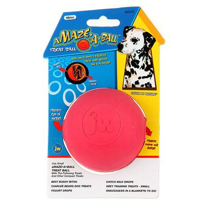 Jw Pet Company Presents Amaze-a-Ball Rubber Treat Ball Small. This Great Rubber Bouncing Ball is also a Treat Ball. Treats Go in One Side. As your Dog Plays with the Ball the Treats Go through a Maze Inside the Ball and Eventually Fall Out. Specific Small Treats are Recommended. Others will Work Well. [20268]