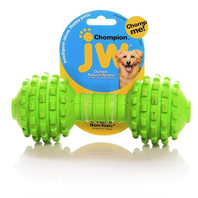 Jw Pet Company Presents Chompion Heavyweight Rubber Dumbbell. Designed for Large Breeds Made of the Toughest 100% Natural Rubber and Infused with Natural Vanilla Extract Available in Assorted Colors the Chompion can Withstand Limitless Hours of Even the Most Vigorous Chewing without Discoloring or Losing that Great Taste Textured Surface is Excellent for Healthy Gums [20272]