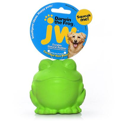 Jw Pet Company Presents Jw Pet Company (Jw) Dog Toy-Darwin the Frog Large. The Tough by Nature Darwin the Frog Small is a Squeaky Ball of Amphibian Fun for Dogs! Made of Natural Rubber and Infused with Vanilla, this Toy will Bounce Erratically when Thrown --- Dogs will have a Hopping Good Time. Dogs and Owners Alike will Love the Durable Darwin - He's Frogtastic! [20280]