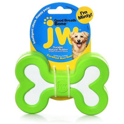 "Jw Pet Company Presents Jw Pet Company (Jw) Good Breath Bone Large. Mint Flavored Tough Rubber Bone to Help Freshen your Dogs Breath. Medium Breath Bone is 3"" Long. [20291]"