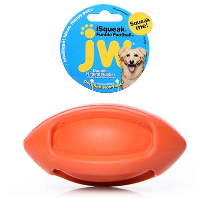 Jw Pet Company Presents Jw Pet Company (Jw) Isqueak Funble Football Small. The New Isqueak Funble Football and Isqueak Bouncin' Baseball are Squeaky Sporty Durable Rubber Balls. These Toys are Meant to be Tossed, Passed, Carried, and Chewed! Available in Fun Bright Colors for Canine Athletes of all Sizes. Small [20314]