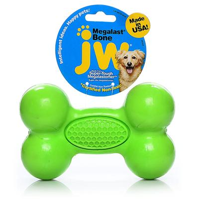 "Jw Pet Company Presents Megalast Bone Toy Small. The Megalast Bones are Tough New Toys from Jw Pet Made of our Durable Megalastomer. Infused with Vanilla, the Megalast Bones are Available in 3 Translucent Bright Colors. These Buoyant, Floating Toys are Mega Strong, Mega Bouncy, and Mega Fun! The Megalast Toys are Made in the Usa in an Eco-Friendly Facility that Utilizes Solar Power. All Megalast Toys are 100% Recyclable. Additional Megalast Selling Points Balls & Bones are Made in the U.S. A.• Balls & Bones are 100% Recyclable• Balls & Bones are Made in a ""Green"" Eco-Friendly Facility that Utilizes Solar Power• Material Floats, Bounces & Holds Up to Tough Play Small [20326]"