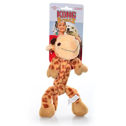 Kong Company Presents Kong Braidz Giraffe-Large. Kong Braidz Giraffe Plush Dog Chew Toy is Designed for Dogs who Like to Tug, Shake and Squeak their Toys. Kong Braidz Giraffe Plush Dog Chew Toy are Made of Soft but Strong Material which is Tightly Braided for Strength. The Stretchy Weave of Kong Braidz Giraffe Plush Dog Chew Toy Helps to Floss and Clean Teeth During Play, and a Squeaker Adds to the Fun. [20347]