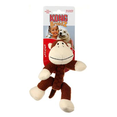 Kong Company Presents Kong Braidz Monkey-Large. Kong Braidz Monkey Plush Dog Chew Toy is Designed for Dogs who Like to Tug, Shake and Squeak their Toys. Kong Braidz Monkey Plush Dog Chew Toy are Made of Soft but Strong Material which is Tightly Braided for Strength. The Stretchy Weave of Kong Braidz Monkey Plush Dog Chew Toy Helps to Floss and Clean Teeth During Play, and a Squeaker Adds to the Fun. [20350]
