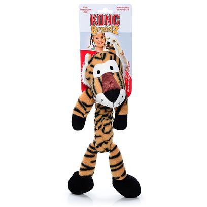 Kong Company Presents Kong Braidz Tiger-Small. Kong Braidz Tiger Plush Dog Chew Toy is Designed for Dogs who Like to Tug, Shake and Squeak their Toys. Kong Braidz Tiger Plush Dog Chew Toy are Made of Soft but Strong Material which is Tightly Braided for Strength. The Stretchy Weave of Kong Braidz Tiger Plush Dog Chew Toy Helps to Floss and Clean Teeth During Play, and a Squeaker Adds to the Fun. [20351]
