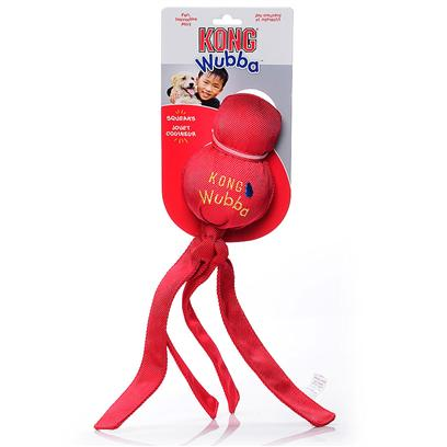 Kong Company Presents Kong Wubba-Assorted Large. Kong Wubba is a Fun Interactive Toss and Tug Toy. Durable Reinforced Nylon Fabric Covers Two Rubber Balls- a Tennis Ball on Top and a Squeaker Ball Beneath. The Long Tails Make it Easy to Pick Up and Throw. Dogs Love to Squeak the Wubba and Shake the Flapping Tails Back and Forth. [20359]