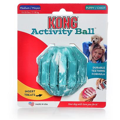 Kong Company Presents Kong Medium Puppy Activity Ball Kp22. Puppy Kong Activity Ball is the Perfect Toy for Puppies with Energy to Burn. Fill the Center or Grooves of Activity Ball with Kong Puppy Treat, Snaps or Ziggies and Watch the Fun Begin. The Treat Dispensing Feature Keeps Puppies Entertained while Enhancing their Intellectual Development. The Activity Ball is Made with Kong's Special Teething Rubber Formula to Soothe Sore Gums and Gently Clean Teeth. [20365]