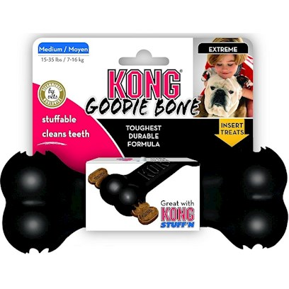 Kong Company Presents Kong Goodie Bone Dog Toy Red-Medium. Dogs Adore Bones. We Adore Dogs. Enter the Kong Goodie Bone Dog Toy. This is the Touchstone Bone Form with Subtle Features that Yield a Versatile and Durable Toy. The Rubber Used in the Construction of the Goodie Bone is Strong, Designed to Endure Even the Most Talented Chewers while Safely Remaining Intact, and it Actually Cleans your Dogs' Teeth as they Chew. While Great for Fetch Games, the Patented Goodie Grippers Located on Either End of the Bone Hold Snacks or Even Kong's Fresh Breath Easy Treat Paste, to Freshen your Dogs' Breath as they Chew. [20368]