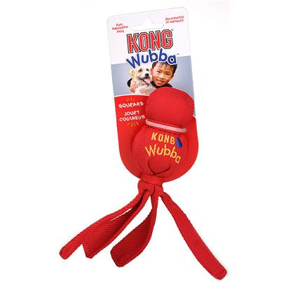 Kong Company Presents Kong Wubba-Small Assorted Dog Toy Small (Assorted Colors). Kong Wubba is the Coolest Toy there Is! This Toy Combines 2 of your DogS Favorite Things to do Play Fetch and Play Tug O' War. This Fun, Interactive Toss and Tug Toy is Made of Durable Reinforced Nylon Fabric that Covers Two Rubber Balls. A Tennis Ball is on Top and a Squeaker Ball is Beneath It. The Long Tails Make it Easy to Pick Up and Throw so you and your Pup can Enjoy a Fun Game of Chase and Fetch! Dogs Love to Squeak the Kong Wubba and Shake the Flapping Tails Back and Forth! This is the Perfect Toy for you and your Dog to Enjoy some Outdoor Action! [20371]