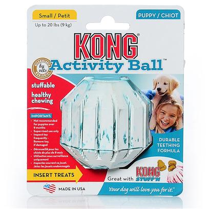 Kong Company Presents Kong Small Puppy Activity Ball Puppy-Up to 20lbs. Puppy Kong Activity Ball is the Perfect Toy for Puppies with Energy to Burn. Fill the Center or Grooves of Activity Ball with Kong Puppy Treat, Snaps or Ziggies and Watch the Fun Begin. The Treat Dispensing Feature Keeps Puppies Entertained while Enhancing their Intellectual Development. The Activity Ball is Made with Kong's Special Teething Rubber Formula to Soothe Sore Gums and Gently Clean Teeth. [20372]