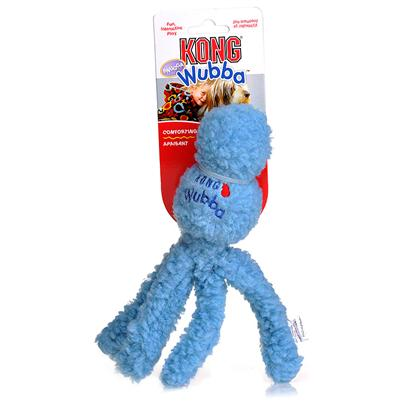 Kong Company Presents Kong Snugga Wubba Small. Kong Wubba is a Fun Interactive Toss and Tug Toy. Durable Reinforced Nylon Fabric Covers Two Rubber Balls- a Tennis Ball on Top and a Squeaker Ball Beneath. The Long Tails Make it Easy to Pick Up and Throw. Dogs Love to Squeak the Wubba and Shake the Flapping Tails Back and Forth. [20373]
