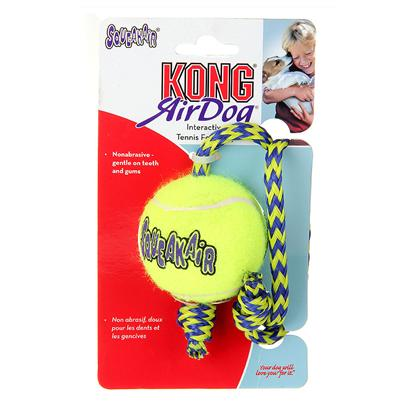 Kong Company Presents Kong Squeaker Ball with Rope Medium. How do you Make an Air Kong Squeaker Ball Even Better? Add a Strong Nylon Throw Rope so you can Really Get it Going! These are Real Tennis Ball Toys, in an Ultra-Fetchable Shape that's Great for Play on Land or in the Water. Heavy Duty Toys will Stand Up to Plenty of Vigorous, Supervised Play. Combines Two Canine Favorites, the Rope and the Tennis Ball. Made in the Usa from Durable, High-Quality Tennis-Ball Material. Recommended for Medium-Breed Dogs. Great for Retriever Training; Felt Covering Won't Abrade Dogs' Teeth. 2.5&quot; Diameter Tennis Ball; 15&quot; Long Rope [20376]