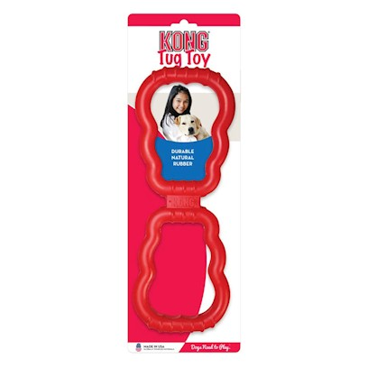 Kong Company Presents Kong Tug. Two Strong Materials are Combined to Create the Perfect Tug Toy. Legendary Kong Rubber Grips and Control Flex Center Provides Strength and Flexibility. Nylon Kong Shaped Rings are Sturdy and Designed to Withstand the Most Vigorous Tug Sessions. [20380]