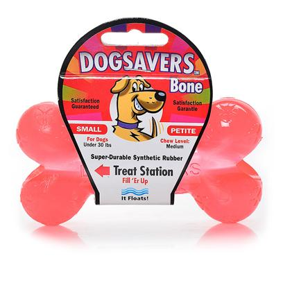 Mammoth Presents Dogsavers Bone with Treat Station Small 4.5'. Made of Super Durable Synthetic Rubber, Perfect for Chomping and Interactive Play. Packaged in 5 Assorted Flavors (Grape, Pineapple, Lime &amp; Orange). [20390]