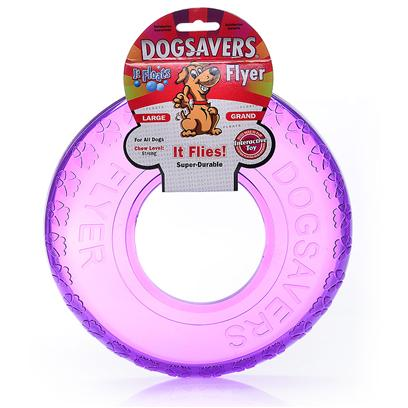 Mammoth Presents Dogsavers Flyer Large 9'. Made of Super Durable Synthetic Rubber, Perfect for Chomping and Interactive Play. Packaged in 5 Assorted Flavors (Grape, Pineapple, Lime &amp; Orange). [20393]